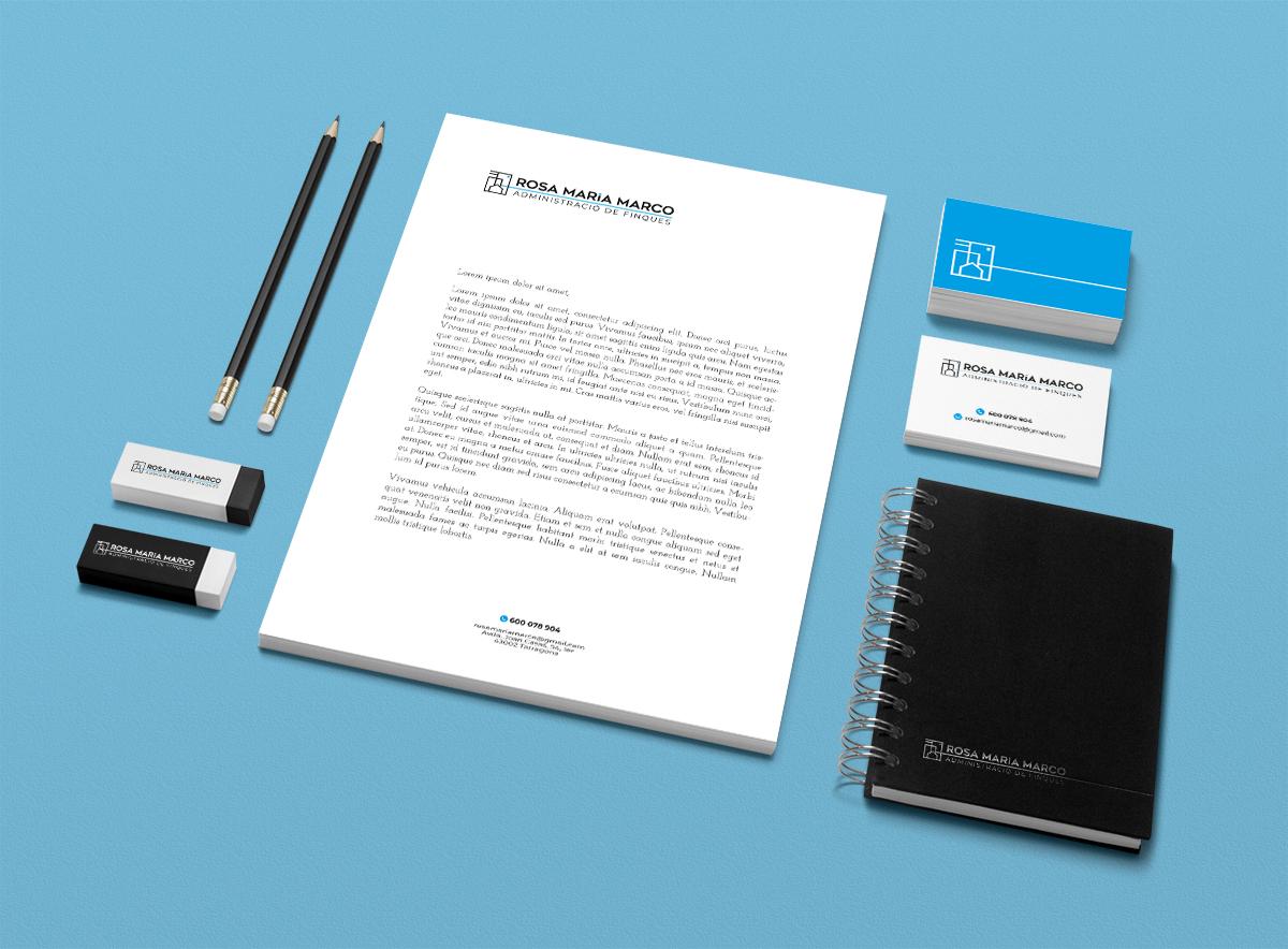 papelería ficticia diseño gráfico